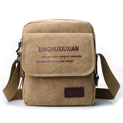 Retro Men's Canvas Small Bag Single Shoulder Diagonal Backpack IPAD Computer Bag Casual Bag For Men
