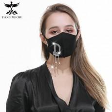 Fashion Master Diamond Letter Diamond Sticker Mask Personality Trend Washable Cotton Mask Custom LOGO