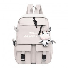 Autumn New Middle School Student Schoolbag Female Arge-Capacity Korean Backpack Oxford Cloth Solid Color Simple Couple Travel Bag