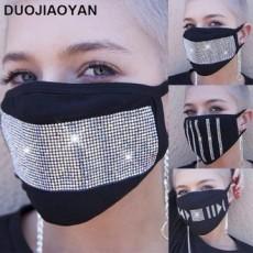 Hot Selling Dustproof Black Star Flash Diamond Rhinestone Cotton Mask Adult MOQ 2PCS