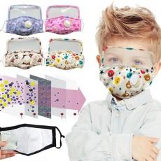 Protective  Pure Cotton Mask Children Cartoon Printed One-piece Transparent PET Oil-proof Cotton Mask For Epidemic Prevention MOQ 10pc