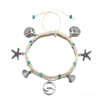 Starfish Beach Women's Anklet, Shell Sea Wave Weave Pendant, Accessories for Hands and Feet