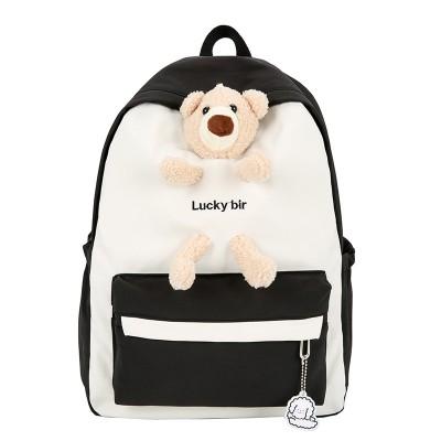 2021 High School Students Nylon Backpack  Large Capacity Cute Backpack School Bag For Female
