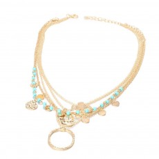 Boho Style Foot Ornament Shell Diamond Bee Pendant Anklet Four-piece Anklet For Ladies