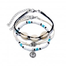 Knotted Shell Black Rope Creative Retro Human Head Badge Chic Skull Three-piece Anklet