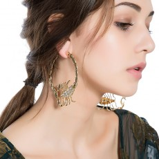 Stylish Environmentally Friendly Alloy Diamond-studded Scorpion Earring For Ladies