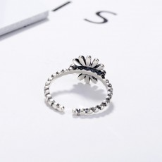 S925 Sterling Silver Vintage Daisy Thai Silver Ring Simple Literary Style Sun Flower Adjustable Ring