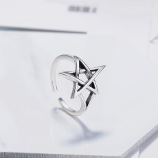 S925 Sterling Silver Retro Hollow Five-pointed Star Thai Silver Ring Simple Star Ring