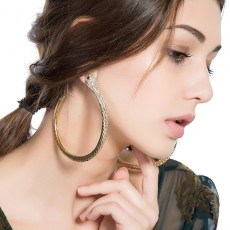 Diamond Round Snake Earrings Exaggerated Fashion Big Hoop Earrings For Girls
