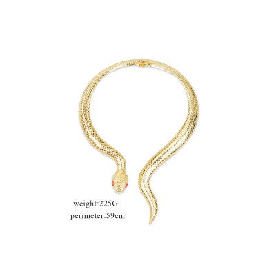 Fashionable Jewelry Retro Exaggerated Golden Serpentine Spring Large Collar Necklace