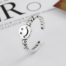 S925 Sterling Silver Retro Smiley Ring Simple ins Love Chain Adjustable Size Ring