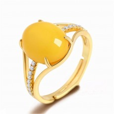 Fashion Retro Ethnic Style Inlaid Amber Beeswax Ring Yellow Chalcedony Ring Vintage For Women