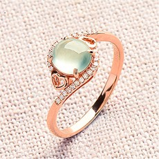 Love Heart-shaped Jade Ring Female Ring Ice Egg Noodle Grape Green Plated 18K Rose Gold Ice Spirit Light Diamonds
