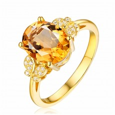 Citrine Bow Ring With Diamonds, Noble Temperament, 18K Gold Plated, Butterfly Dance Style Yellow Diamond Ring