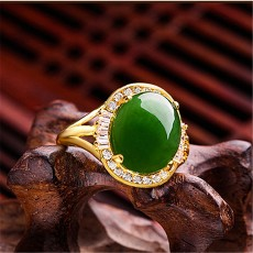 Square Diamond Chalcedony Ring Inlaid With Jade Field Jade Ring Green Jade Gift For Mother And Girls