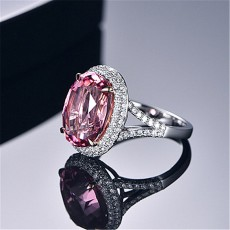 18K Gold Imitation Natural Pink Tourmaline Ring With Pink Diamonds Large Loose Stone Diamond Plated Jewelry
