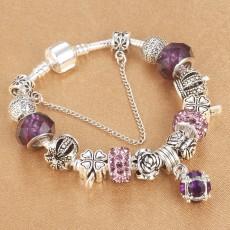 Sweet Design Style DIY Crown Crystal Beaded Bracelet Water Drop Pendant Bracelet For Girls