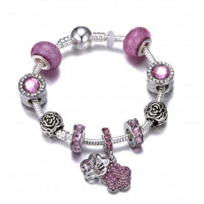 Fantasy Purple Silver Pandora Bracelet Trend Retro Element DIY Gem Handmade Bracelet