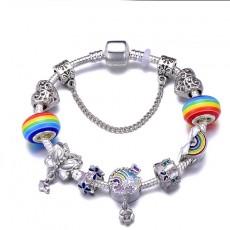 DIY Handmade Beaded Hot Air Balloon Rainbow Series Pendant Bracelet Europe and America Panjia Glazed Bead Bracelet