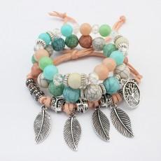 Vintage Tree of Life Leaf Multilayer Bracelet Female Handmade Glass Beaded Bracelet