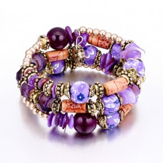 Retro Ethnic Style Wild Multi-layer Bracelet Female Handmade Beaded Colorful Stone Winding Bracelet