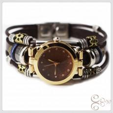 Vintage Woven Jewelry Cowhide Bracelet Handmade Multi-layer Stainless Steel Purple Sand Quartz Watch Buckle
