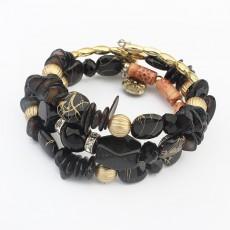 Popular Jewelry Exotic Colorful Stone Multi-layer Bracelet Ethnic Wind Hand-wound Adjustable Size Bracelet