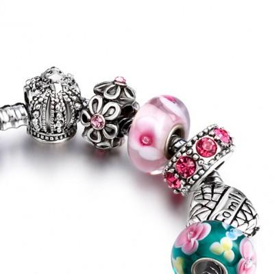 Color-preserving Gold-plated Crystal Diamond Ball Bracelet DIY Alloy Heart-shaped Beaded Bracelet