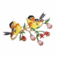 Birds Corsage Jewelry High-grade Oily Oriole Bird Couple Brooch Enamel Pin Clothing Accessories For Women