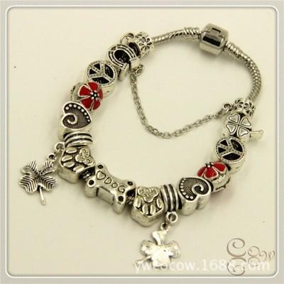 Four-leaf Clover Dog Love Peace Crystal Diamond Colored Beads Tibetan Silver Pan Bracelet Female DIY Beaded Bracelet