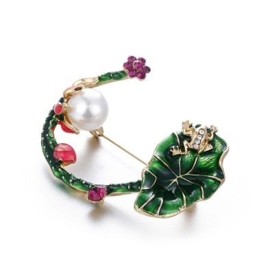 Fashion Retro Korean Enamel Jewelry Wild Lotus Corsage Pin Commuter Professional Clothing Accessories
