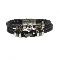 Twelve Constellation Jewelry Gift Men's Multilayer Stainless Steel Watch Buckle Punk Cowhide Bracelet