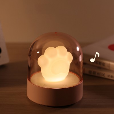 Cat Claw Music Night Light Cute Mini Valentine Gift Bedside Lamp USB Charging Smart Home LED Table Lamp