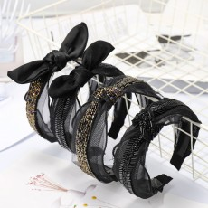 Rabbit Ears Crystal Knotted Headband High-end Hair Accessories Fabric Toothed Non-slip Headband