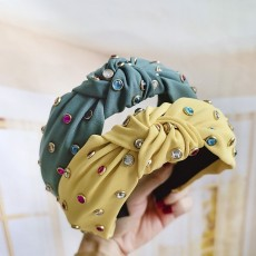 Lovely Pure Color Fabric Knotted Headband Fashion Wild Handmade Color Drill Headband For Girls