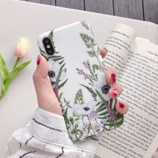 Personalized Flower And Grass Watercolor Painting IMD Anti-drop Edging Mobile Phone Protective Case For Iphone Series