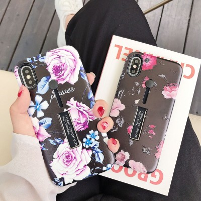 Creative Flower Invisible Ring Bracket Embossed Feel Thor Mobile Phone Protective Case For Iphone Series