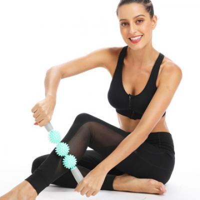 Long Spike Mace 3-ball Massage Stick Relaxes Fascia Lean Leg Yoga Exercise Equipment MOQ 1 PCS