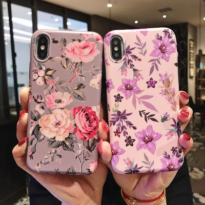 Classic Retro Flower Series Lmd Craft Anti-falling Edge TPU Soft Shell Mobile Phone Protective Cover For Iphone