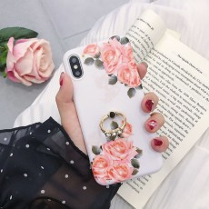 Personalized Diagonal Flower IMD With Diamond Ring TPU Edging Mobile Phone Protective Case For Iphone Series