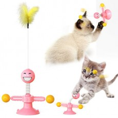 New Pet Products Hot Style Spring People Wheel Windmill Cat Toy Wheel Cat Fighting With The Cat Stick MOQ 100 SET