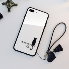 Mobile Phone Case Cartoon Glass iPhone Case Suitable for 11promax 7plus 6s/ipx 8p Male And Female