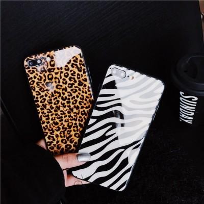 Borderless Material Phone Case With Unique Creative Leopard Zebra Glass Design For iphone Xsmax/XR Matte PC Combo 7plus/6s