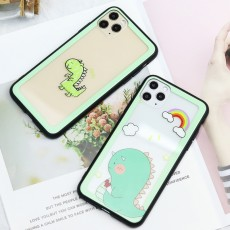 Hollow Glass Mobile Phone Case Small Dinosaur Case Suitable For Iphone12 Apple11Pro Avocado xr/xsmax/8p/6