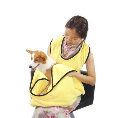 Cat And Dog Supplies Coral Fleece Soft Pet Absorbent Bath Towel Pets Shoveling Poop Official Protective Apron