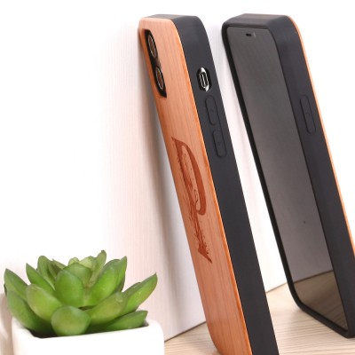 26 English Letters Rosewood Solid Wood Radium Carved Mobile Phone Case For iPhone11/78PXR Samsung S7E