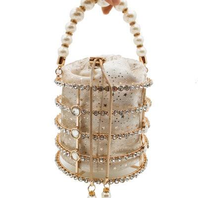 Women's Totes Bag Metal Bucket Bag Pearl Diamond Set Party Evening Bag Withdrawal Chain Hollow Bag MOQ 1pcs