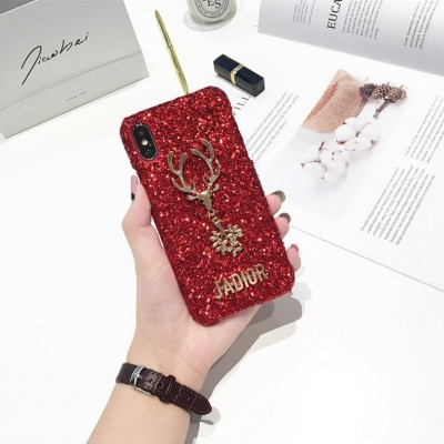 Christmas Elements Elk Sequined Glitter Phone Case Hard Shell Deer Phone Case With Fashion Trend Style