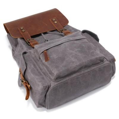 Men's Computer Backpack Retro Crazy Horse Leather Backpack Canvas Backpack Men's Bag