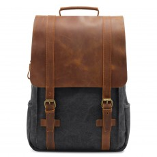 Rucksack Retro Canvas Backpack Crazy Horse Leather Backpack Leisure Computer Backpack